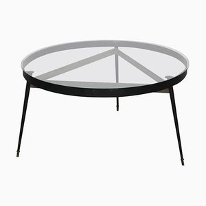 French Round Tripod Dining Table with Glass Top, 1950s