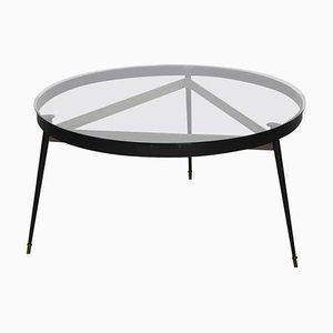 Runder Französischer Dreibein Esstisch mit Glasplatte, 1950er