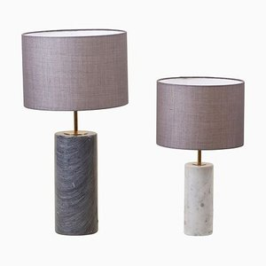 Table Lamps in White and Grey Marble, Germany, 1970s, Set of 2