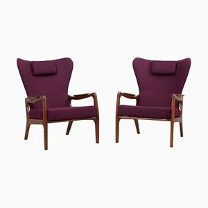 High Back Wing Lounge Chairs by Adrian Pearsall for Craft Associates, 1950s, Set of 2
