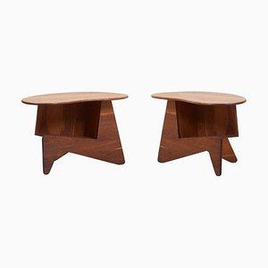 Mesas auxiliares Mid-Century de madera, EE. UU., Años 60. Juego de 2