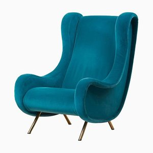 Italian Blue Velvet Senior Lounge Chair by Marco Zanuso for Arflex, 1950s