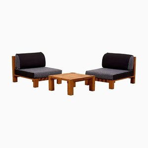 Lounge Chairs and Coffee Table Set in the Style of Charlotte Perriand, 1950s, Set of 3