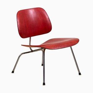 Poltrona LCM Aniline rossa di Charles Eames per Herman Miller, anni '50