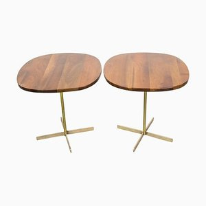 Brass and Wood Side Tables by Allan Gould, 1950s, Set of 2