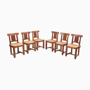 Holzstühle von Jacques Matteau, Frankreich, 1930er, 6er Set
