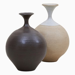 Stoneware Studio Pottery Vases by Bob Kinzie, USA, 1970s, Set of 2