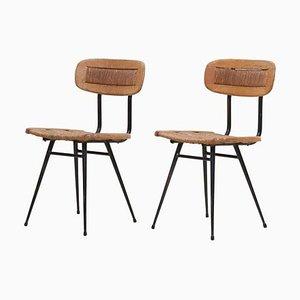 Französische Stühle aus geflochtenem Metall, 1950er, 2er Set
