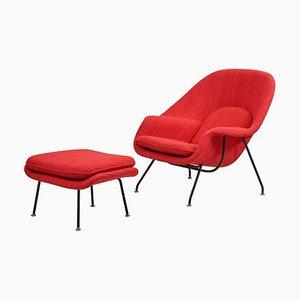 Womb Sessel mit Fußhocker von Eero Saarinen für Knoll, 1960er, 2er Set