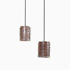 Danish Modern Handmade Pendant Lamps by Jette Hellerøe for Keramikhuset Vorupør, 1960s, Set of 2