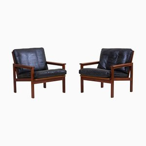 Lounge Chairs in Teak and Leather by Illum Wikkelsø, 1960s, Set of 2