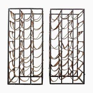 Eisen und Leder Weinregale von Arthur Umanoff, 1950er, 2er Set