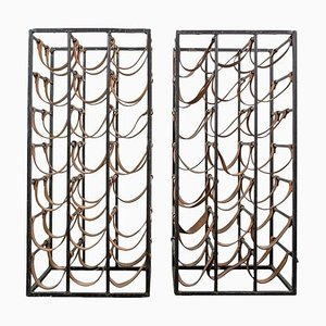Iron and Leather Wine Racks by Arthur Umanoff, 1950s, Set of 2