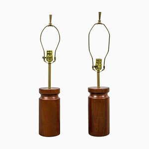 Cherry Wood Table Lamps by Arden Riddle, 1950s, Set of 2