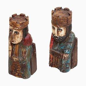 Königinnen Buchstützen aus Holz, 1960er, 2er Set