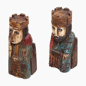 Wooden Queen and King Bookends, 1960s, Set of 2