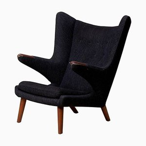 Papa Bear Chair in Black Fabric by Hans J. Wegner, 1960s