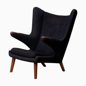 Papa Bear Chair in Black Fabric by Hans J. Wegner, 1960s