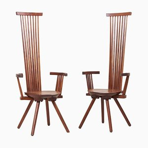 High-Back Armchairs by Jeffrey Greene, USA, 1970s, Set of 2