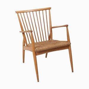 Deutscher Studio Sessel aus Esche & Papierkordel, 1950er