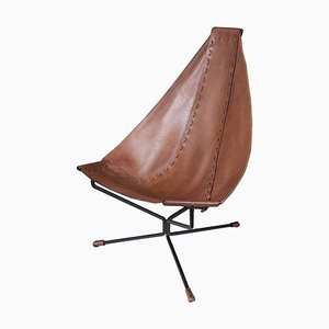 Enclosed Lotus Lounge Chair in Leather and Steel by Dan Wenger