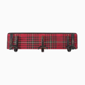 Leather and Tartan Plaid Wool Coat Rack by Jacques Adnet, 1940s