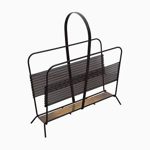 French Black and Brass Magazine Rack or Stand by Mathieu Matégot, 1950s