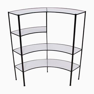 Black and White Vitrolite Glass and Wrought Iron Shelf by Frederick Weinberg, 1950s