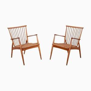 Deutsche Studio Sessel aus Esche & Papierkordel, 1950er, 2er Set