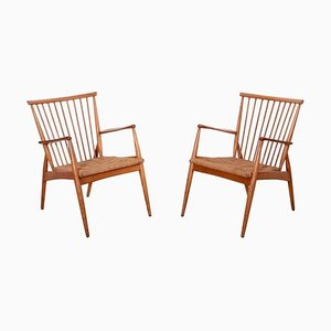 German Ash and Paper Cord Studio Lounge Chairs, 1950s, Set of 2