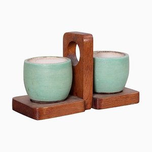 Ceramic Mugs and Oak Tray from Kéramos, France, 1950s, Set of 3