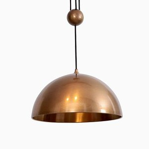 Counterweight Pendant Light in Brass by Florian Schulz, Germany, 1970s