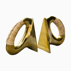 Bookends in Polished Brass and Coiled with Cane by Carl Auböck, 2013, Set of 2