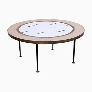 Large German Round Mosaic Coffee Table by Berthold Muller, 1960s