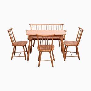 Chaises de Salon et Set de Table par Arno Lambrecht pour WK Möbel, 1950s, Set de 5