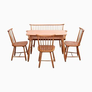Dining Chairs & Table Set by Arno Lambrecht for WK Möbel, 1950s, Set of 5