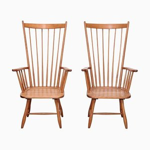 High Back Windsor Lounge Chairs by Arno Lambrecht, 1950s, Set of 2