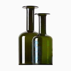 Olivgrüne Bodenvasen von Otto Brauer für Holmegaard, 1960er, 2er Set