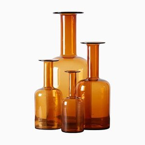 Gulv Floor Vases in Amber by Otto Brauer for Holmegaard, 1960s, Set of 4