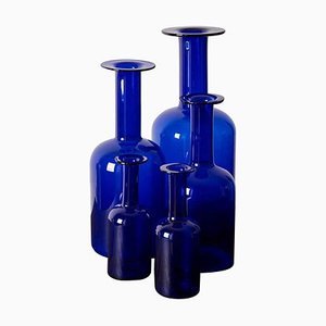 Vases de Plancher Bleus par Otto Brauer pour Holmegaard, 1960s, Set de 5