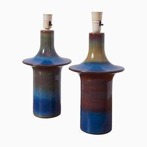Grandes Lampes de Bureau en Céramique Bleue de Søholm, Danemark, 1960s, Set de 2