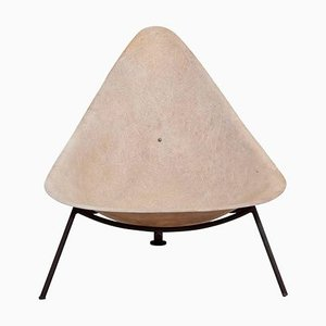 French Fiberglass Lounge Chair in Parchment by Ed Merat, 1950s