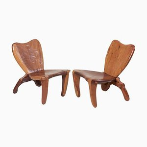 Mexican Craft Wooden Studio Lounge Chairs by Don Shoemaker, 1960s, Set of 2