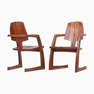 Wooden Studio Armchairs by H. Wayne Raab, USA, 1970s, Set of 2