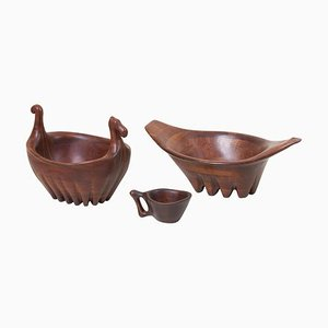 Large Bowl and Cup in Walnut by Lee Swennes, USA, 1960s, Set of 3