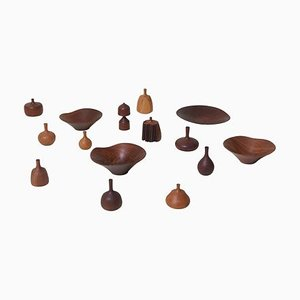 Large Turned Wood Collection by Rude Osolnik, 1970s, Set of 15