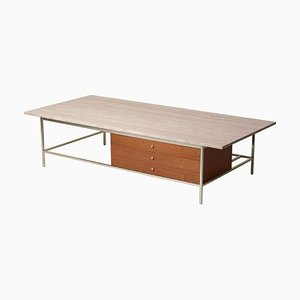 Travertine Stone Top Coffee Table by Paul McCobb for Directional & WK, 1960s