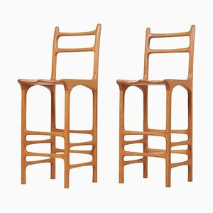 Tall Back Studio Barstools, 1970s, Set of 2