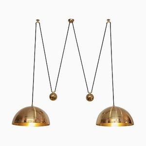 Double Posa Brass Pendant Lamp with Side Counter Weights by Florian Schulz, 1970s