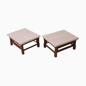 Tavolini con ripiano in travertino di Gianfranco Frattini, anni '50, set di 2